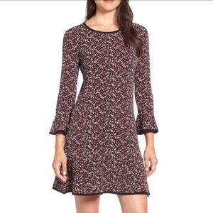 Michael Kors Fitted Shift Dress Black Red Floral